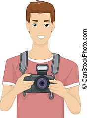 appareil photo, homme numérique
