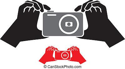 appareil photo, icône, mains