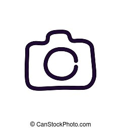 appareil photo, illustration, vecteur, fond, blanc, icône