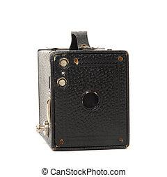 appareil photo, isolé, boîte, vendange, blanc