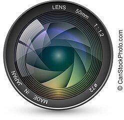 appareil photo, isolé, illustration, lentille, arrière-plan., vecteur, photo, devant, blanc, vue