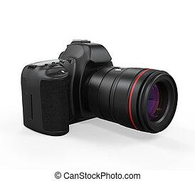 appareil photo, isolé, slr, numérique