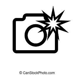 appareil photo, isolated., blanc, logo, flash, fond
