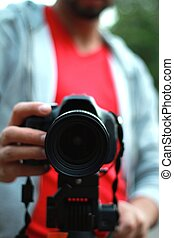 appareil photo, maniement, jeune, slr, homme