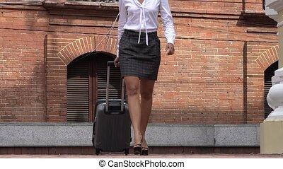 appareil photo, marche, affaires femme