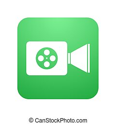 appareil photo, moderne, vecteur, vidéo, blanc, icône