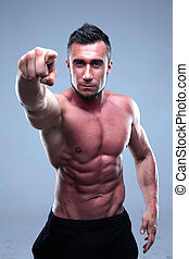 appareil photo, musculaire, pointage, homme