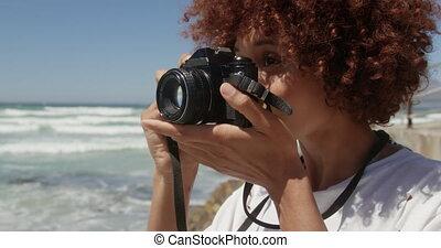 appareil-photo numérique, photo, plage, femme, prendre, 4k