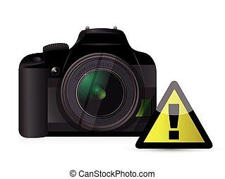 appareil photo, panneau avertissement, concept