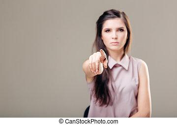 appareil photo, pointage femme
