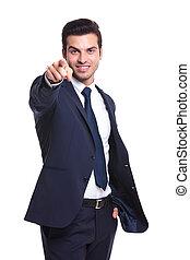 appareil photo, pointage, homme affaires