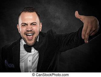 appareil-photo., pointage homme, business, jeune