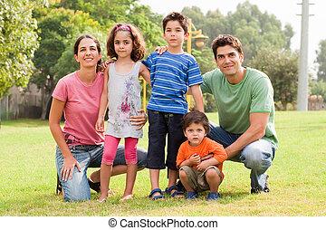 appareil photo, poser, famille
