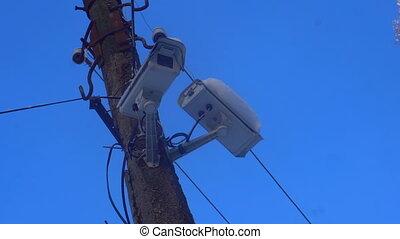 appareil photo, poteau, rue, cctv