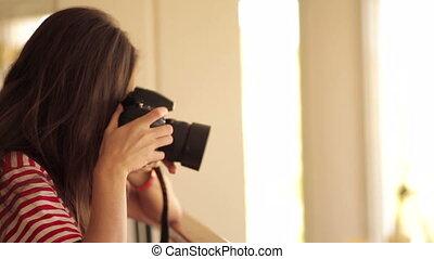 appareil photo, prendre, pic, jeune fille