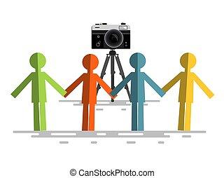 appareil photo, retro, gens