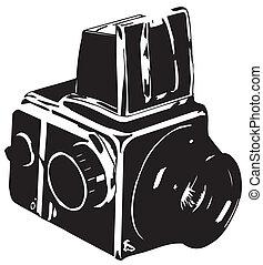 appareil photo, retro, icône