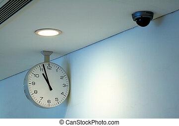appareil-photo sécurité, horloge