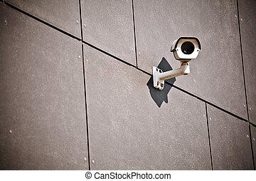 appareil-photo sécurité, sur, bâtiment bureau, mur