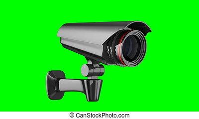 appareil-photo sécurité, sur, vert, arrière-plan., isolé, 3d, render