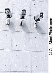 appareil-photo sécurité, trois, copyspace, fond