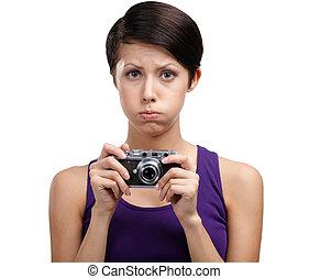 appareil photo, séduisant, mains, girl, photographique, ...