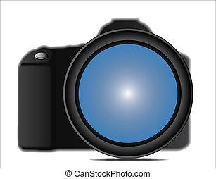 appareil-photo slr, haut, illustration, fin