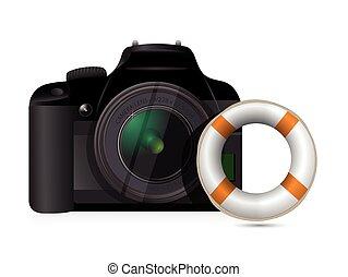 appareil photo, sos, concept