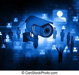 appareil photo, surveillance, 3d, render, gens