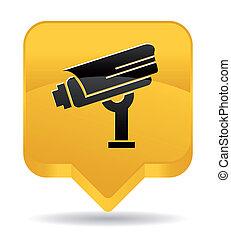 appareil-photo surveillance, jaune, icône