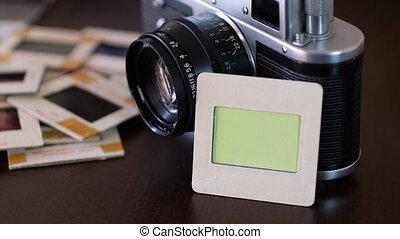appareil photo, vendange, vert, écran, pellicule, diapo