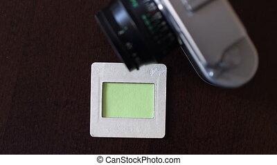 appareil photo, vert, écran, pellicule, vendange, diapo