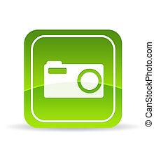 appareil photo, vert, numérique, icône