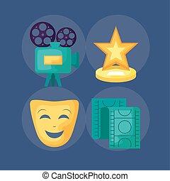 appareil photo, vidéo, ensemble, cinéma, icônes
