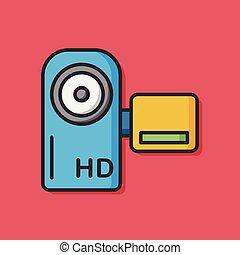 appareil photo, vidéo, pellicule, icône