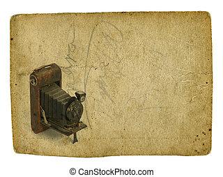 appareil photo, vieux, fond, photographique, vendange