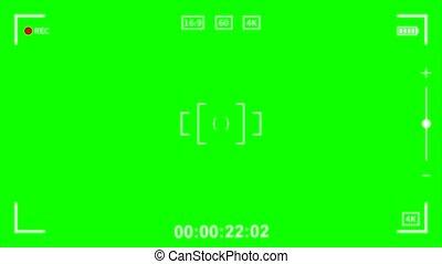 appareil photo, viseur, vert, écran, enregistrement