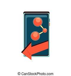 appareil, signal, smartphone, part, flèche