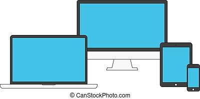 appareils, bleu, électronique, vide, écrans