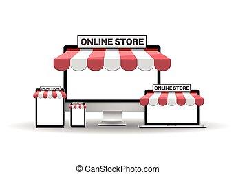 appareils, magasin, ligne