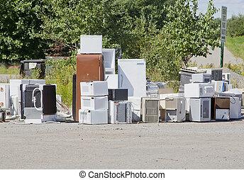 appareils, vieux, décharge, déchets