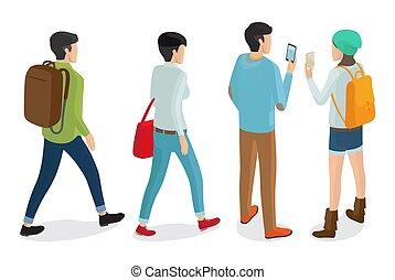 apparels, モデル, 男性, 背中, 流行, 女性, 光景