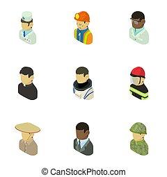 apparence, de, gens, icônes, ensemble, isométrique, style