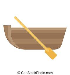 apparenté, bateau, icône, été, pagaie, vacances, vecteur