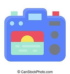 apparenté, icône, coucher soleil, été, appareil photo, vacances, vecteur