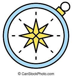 apparenté, icône, vacances été, compas, vecteur