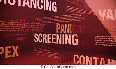 apparenté, termes, coronavirus, pandémie, seamless, animation, faire boucle