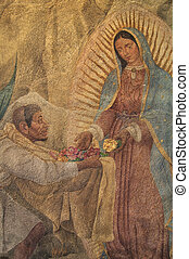 Mexico City, Mexico - December 12, 2012: Beautiful painting of the Virgin Mary giving roses to Juan Diego on the chapel wall on Tepeyac Hill on December 12, 2012 during the feast of Our Lady of Guadalupe