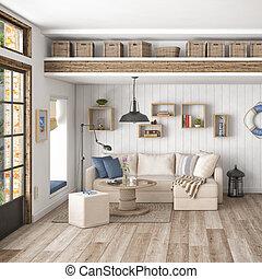 appartamento, 3d, -, render, scandinavo
