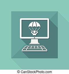 appartamento, abbattersi, emergenza, -, vettore, risparmiare, icona computer